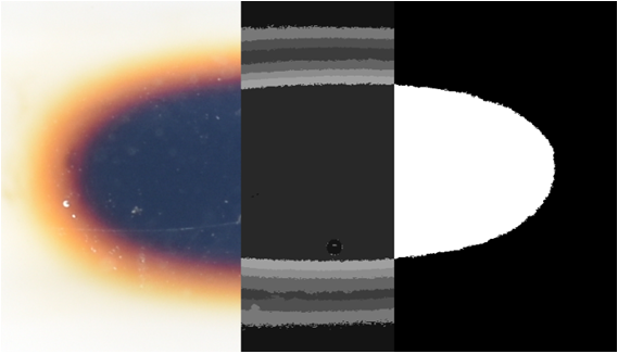 Figure 1: An image of a magnetic fluid region in a model blood vessel, representing a localized theraputing agent, shown in three parts to illustrate the progression from raw image (left) to KMEANS output (center) to a binarized scale (right) for quantification of the volume.