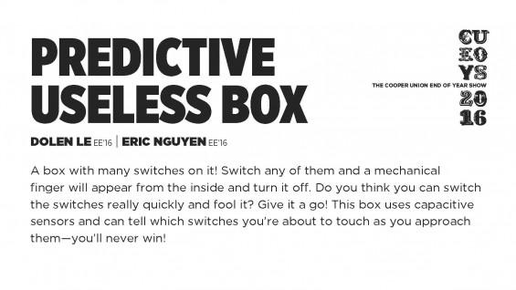 [STUDENT POSTER] PREDICTIVE USELESS BOX