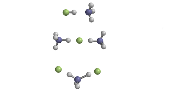 Image Description - Top: Traditional hydrogen bonding between hydrogen fluoride and ammonia. Middle: Proton-shared hydrogen bonding within an anion cluster. Bottom: proton-shared and traditional hydrogen bonding within a cation cluster.
