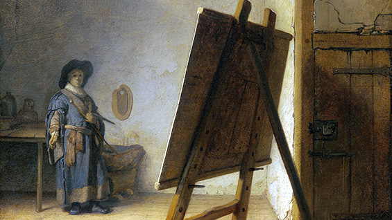 'The Artist in his Studio' (detail) by Rembrandt, 1628. Original at the Museum of Fine Arts, Boston