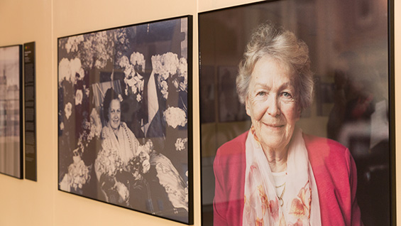 Andrée Dumon at home, after her release from a German prison in 1945 and in 2004. Installation photos by Joao Enxuto/Cooper Union
