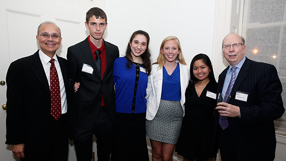 President Jamshed Bharucha (l) and Richard Lincer (r) flank Jack Donnellan, Sophie Landau, Cyan Miller and Quinee Quintana