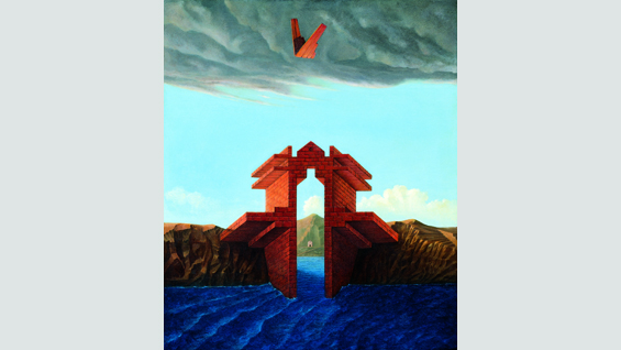 Gate for a Maritime City 1979-80, oil on paper linen  47 x 39.5 cm
