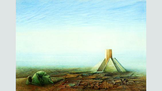 Horus 1985, watercolor on cardboard, 25.4 x 36.5 cm