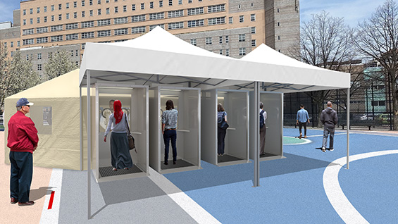 Patient screening booth prototype design.