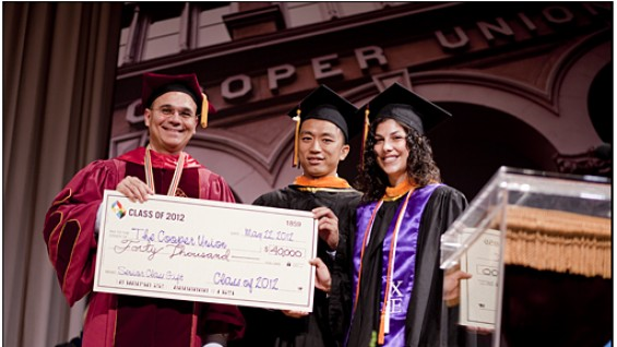 Jason Zeng and Christina Milone present the 2012 Senior Gift to President Bharucha