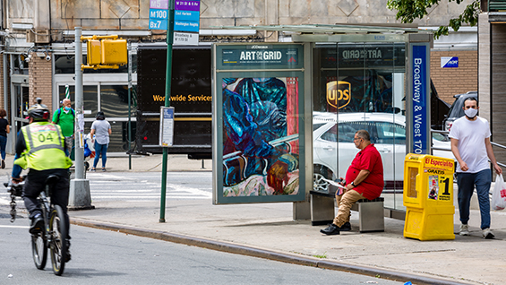 Sharon Madanes, Pulse, 2020, Broadway and W. 170th St, The Bronx, Courtesy the artist; Photo by Nicholas Knight, Courtesy of Public Art Fund, NY.