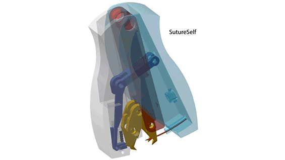 A CAD drawing of SutureSelf