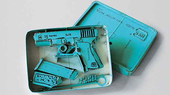 Tiffany Glock Model 19 (1995). Tom Sachs. Cardboard, ink, thermal adhesive. Courtesy of the artist