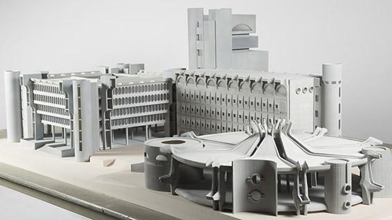 Model of Telecommunications Center (1970), Skopje, Macedonia designed by Janko Konstantinov