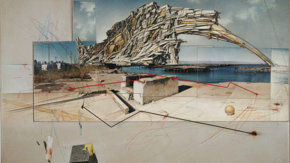 Lebbeus Woods, San Francisco Project: Inhabiting the Quake, Quake City, 1995. Collection SFMOMA