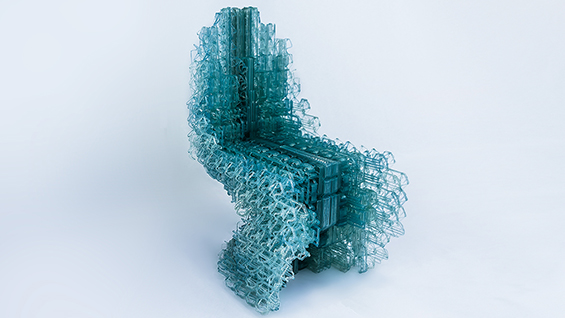 VoxelChair v1.0, Robotically 3D Printed Plastic Chair. Designed by Manuel Jimenez Garcia and Gilles Retsin. Fabrication Support: Nagami.Design and Vicente Soler. Centre Pompidou Paris, Permanent Collection.