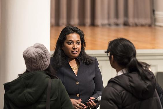 Associate Dean Anita Raja spoke to prospective engineering students