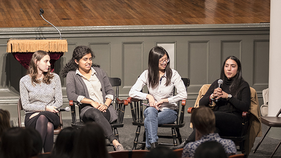 A student panel closed the evening, from left: Rachel Klar ChE'19, Kavya Udupa BSE'19, Brenda So EE'18 and Arielle Mayourian CE'18