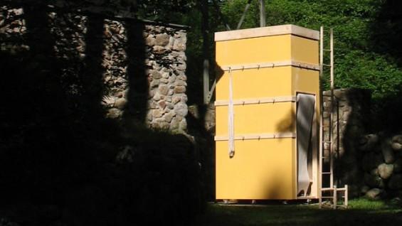 Shaker Residence (2009), birch wood, sheetrock, paint, performance 6' x 3' x 12'. Photo by Caroline Woolard