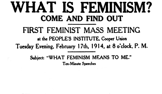 Detail from handbill for feminist meeting at The Cooper Union in 1914