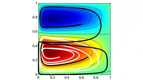 Two paths (black, white) show similar behavior based on one-layer ocean model with a time-dependent double gyre flow