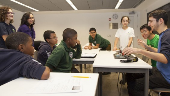 Steven Lee and Spyros Korsanos teach MELS students engineering concepts