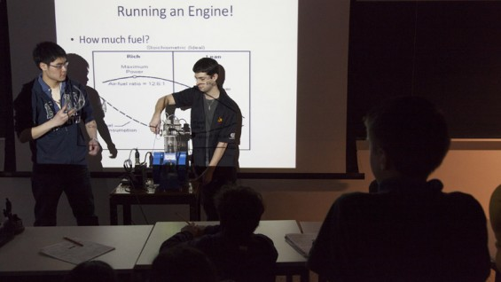 Steven Lee and Spyros Korsanos teach MELS students engineering concepts