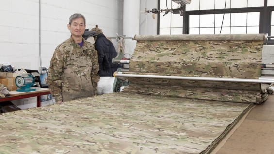 Crye Precision assembly room with an employee