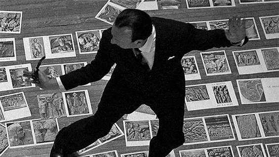 "Adams performing as André Malraux in ""Malraux's Shoes"""