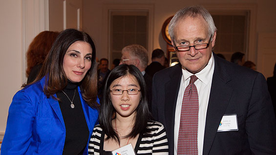 Joanne Mancari and John Frezza with Tiffany Tang, their scholarship recipient