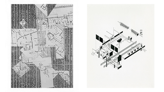 Left: Daniel Libeskind, Collage, Thesis, 1969-70. Right: Stanley Allen, The Theater of Production, Thesis, 1980-81