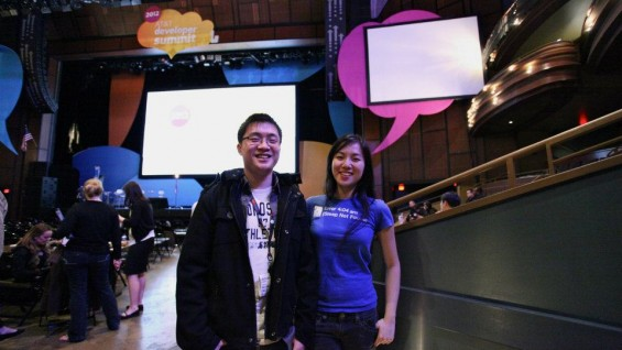 SleepBot's Edison Wang (EE'2012) and Jane Zhu at the 2012 AT&T Hackathon in Las Vegas.