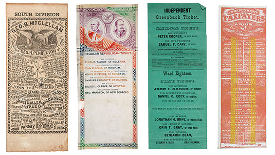 Sample historical ballots, including South Division ballot for Democratic presidential electors (1864), Regular Republican Ticket, MA (1878), Independent Greenback Ticket, MA (1878), and Independent Taxpayers Union Ticket, CA (1871).