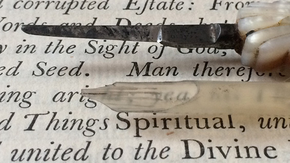 Detail of a 1765 edition of Robert Barclay's 'Apology for the True Christian Divinity,' printed by John Baskerville