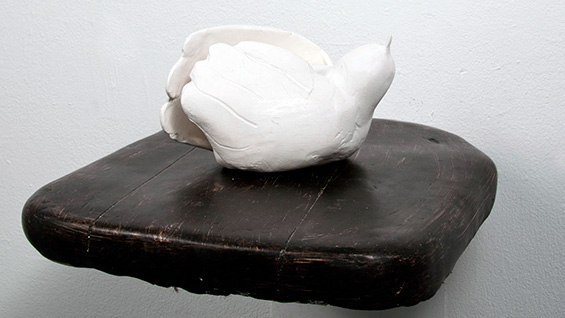 'Bird Sitting' (2012); Ceramic and wood