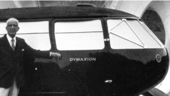 "Buckminster Fuller standing next to his ""Dymaxion"" car"