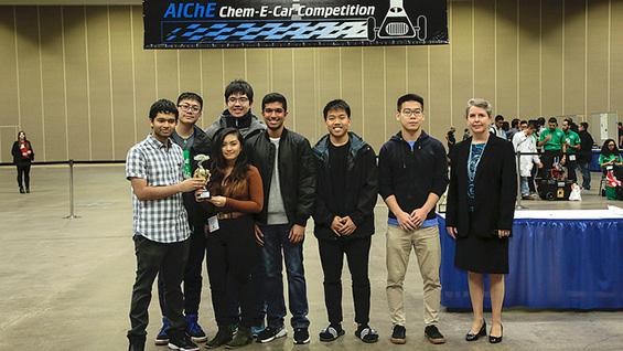 Cooper Union's Chem-E-Car team (and an AIChE representative) at the 2017 AIChE Annual Meeting. Image courtesy of AIChE