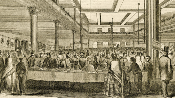 Gathering of pupils from the city's grammar schools in The Cooper Union library, Life Illustrated, January 5, 1859.