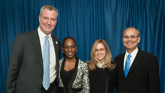 Mayor de Blasio, Chirlane McCray, Jessie Papatolicas and Pres. Jamshed Bharucha backstage in the Great Hall
