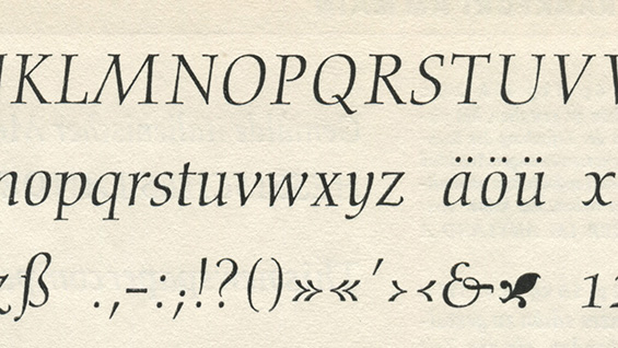 A sample of Gudrun Zapf's Diotima font