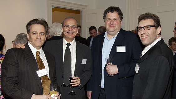 Prof. Alan Wolf, Pres. Bharucha, Jeremy Wertheimer (EE, 82) and Alan I. Goldsmith (CHE 86/MCHE 89)