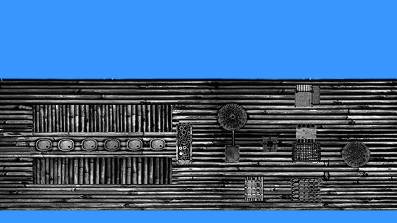 Eze Imade Eribo's radio station / smokehouse fishing raft design, from above