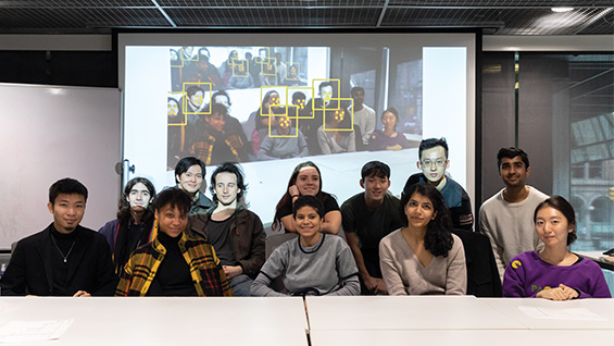 Students testing facial recognition software in Hiding from the Eyes of the City, a course co-taught by Benjamin Aranda, associate professor of architecture, and Sam Keene, associate professor of electrical engineering and the 2019 C. V. Starr Distinguished Professor.