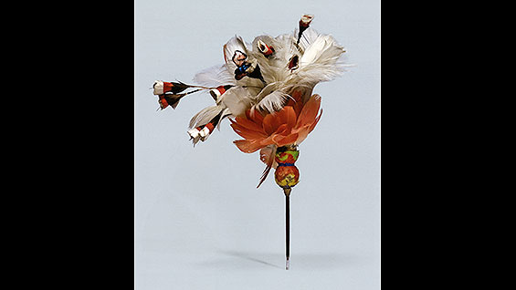 Feather Pin with Flowers and Insect, 13th - 16th cent. (?)