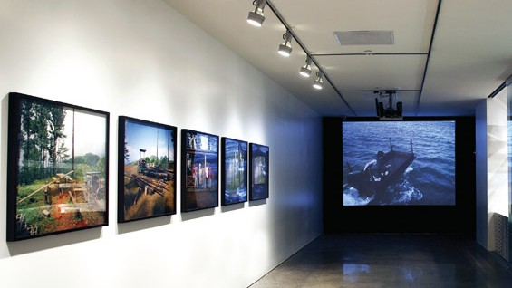 Simon Starling's Trinidad Tree House, 2001–2003 (left) and Allora & Calzadilla's Returning A Sound, 2004 (center)