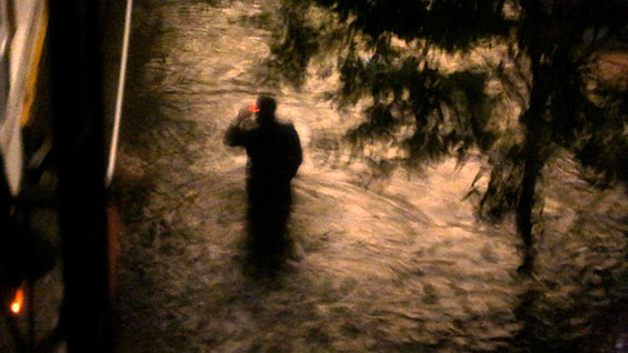 Someone takes a stroll in the floodwaters (photo courtesy Gearoid Dolan)