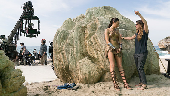 Gal Gadot and Patty Jenkins on set. Images courtesy Warner Brothers Studios