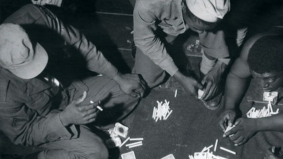 GIs playing cards, circa 1952