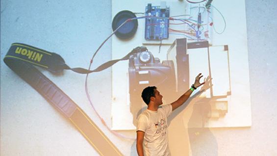 Peter Ascoli demonstrates his team's modular camera hack