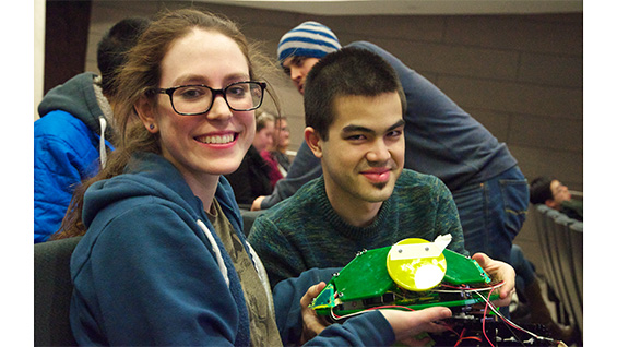 Hannah Talisse and Henry Wang with their top-prize-winning TurtleBot