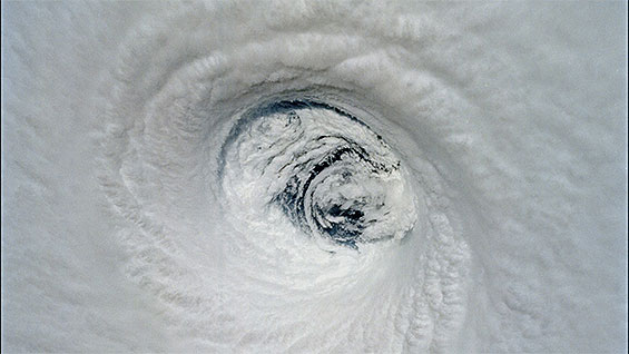 The eye of a hurricane as seen from the Space Shuttle.  Photo courtesy Don Thomas