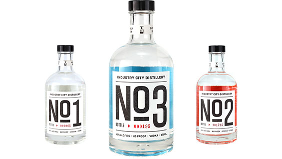 Industry City Distillery's first three batches and their bottle design. (photo courtesy of ICD)