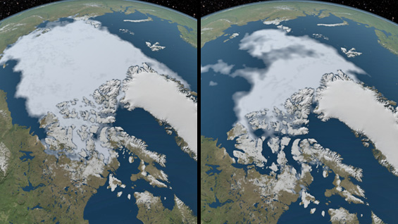 Arctic sea-ice coverage hits record low. Images from 1984 (l) and 2012 courtesy of NASA Scientific Visualization Studio