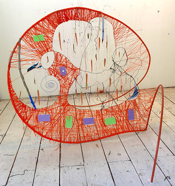 Dawn of the Looney Tune, 2017, 67 x 82 x 86 inches, Metal, wire, sponges, stick, yarn, thread, mylar, plasticine, carrots